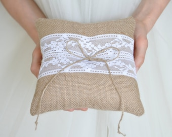 Burlap Ring Pillow  Burlap Bearer Pillow Ring Cushion with White Lace Ring pillow Woodland / Rustic / Cottage style Weddings
