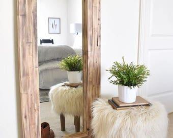 Full length mirror, wall mirror, floor rustic mirror, corner decor, farmhouse, RH diy finish