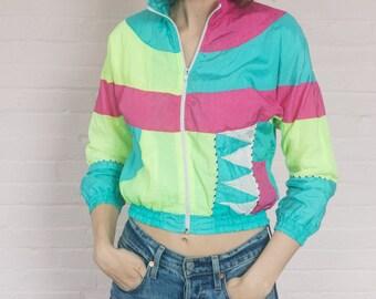 neon 80s windbreaker · xxs