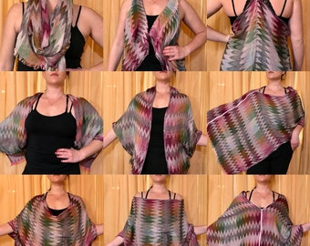 Pink Aztec Print Magic Convertible Scarf: can be worn as poncho/kimono/shawl/vest/head scarf/beach cover-up/shrug- AWESOME Upcycled fashion!