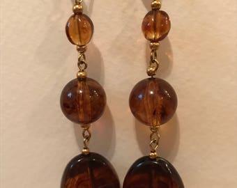 Dangling 3 Tier Dark Amber Earrings