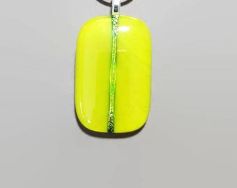 Fused glass pendant - lime green with gold dichroic band