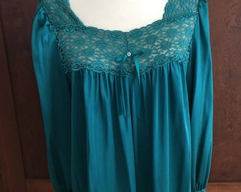 L / Vanity Fair / Nightgown / Teal Green Blue Turquoise Vintage Gown / Large