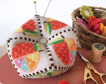 Citrus Biscornu - pincushion - Satsuma Street modern cross stitch pattern PDF - Instant download