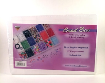 """Bead Box Organizer for Jewelry Supplies 17 Compartments 10.5"""" x 7"""" x 1.75"""""""
