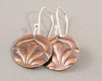 Copper Art Nouveau Earrings, Round Embossed Earrings, Dangle Earrings, Boho Earrings, Gypsy Earrings, Gift for Her, Hammered Copper Earrings