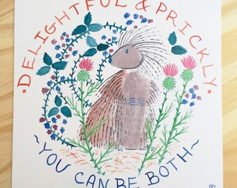 Delightful & Prickly Porcupine Print - 8x8
