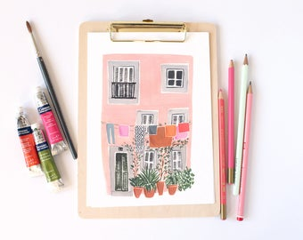 Impresión del arte Lisboa Casa Rosada A4