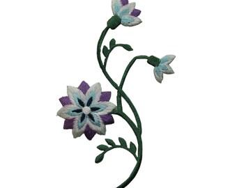 ID 6456 Purple Wildflower On Vine Patch Garden Grow Embroidered Iron On Applique