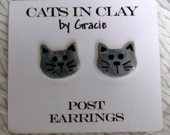 Russian Blue Cat Post Earrings Gray Stud Earring Handmade In Kiln Fired Clay by Gracie