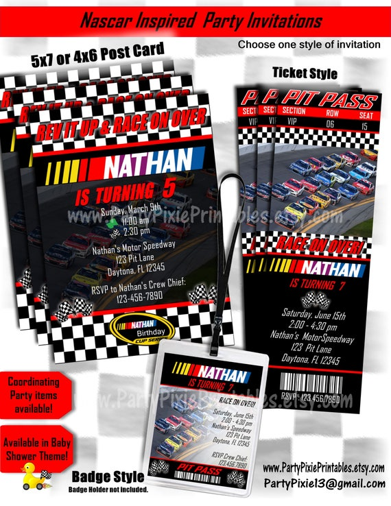 Nascar inspired birthday invitations 5x7 card ticket style like this item filmwisefo Choice Image