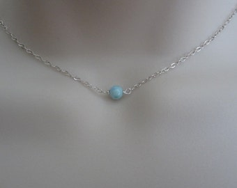 Larimar Necklace. Dainty Layering Larimar Choker. Natural Larimar. Sterling Silver or Gold Filled. TINY Blue Gemstone Necklace. Wedding.