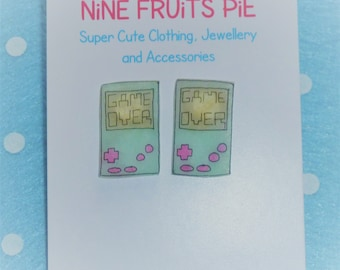 Retro Gamer Hand Held Console Earrings Studs - Mint and Pink