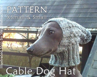 Dog Hat Knit PATTERN / Cable Dog Hat Knit PATTERN / Beanie Dog Hat Knit Pattern / sizes XS and S Dog Hat Knit Pattern