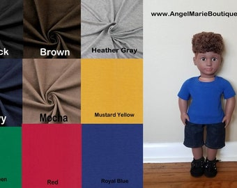 Basic T-Shirt  for 18 inch Boy Dolls- Choose a Color