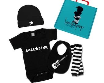 ROCKSTAR BAY KIT noir liane, jambières, bonnet, bavoir guitare & boîte-cadeau en option
