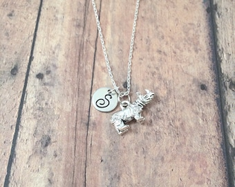 Rhinoceros initial necklace - rhinoceros jewelry, African animal jewelry, rhino necklace, silver rhinoceros pendant, zoo animal necklace