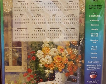 DIY 2018 Jeweled Floral chair Calendar Kit-New In package-wall hanging kit- Calendar,sequins,beads, thread,wood dowel, finials,needle & info