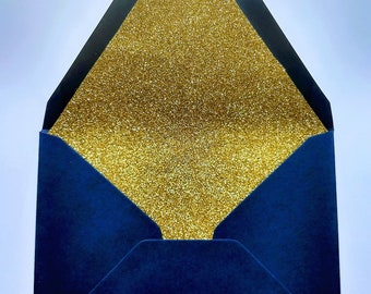 Navy Gold-Glitter Lined Envelopes