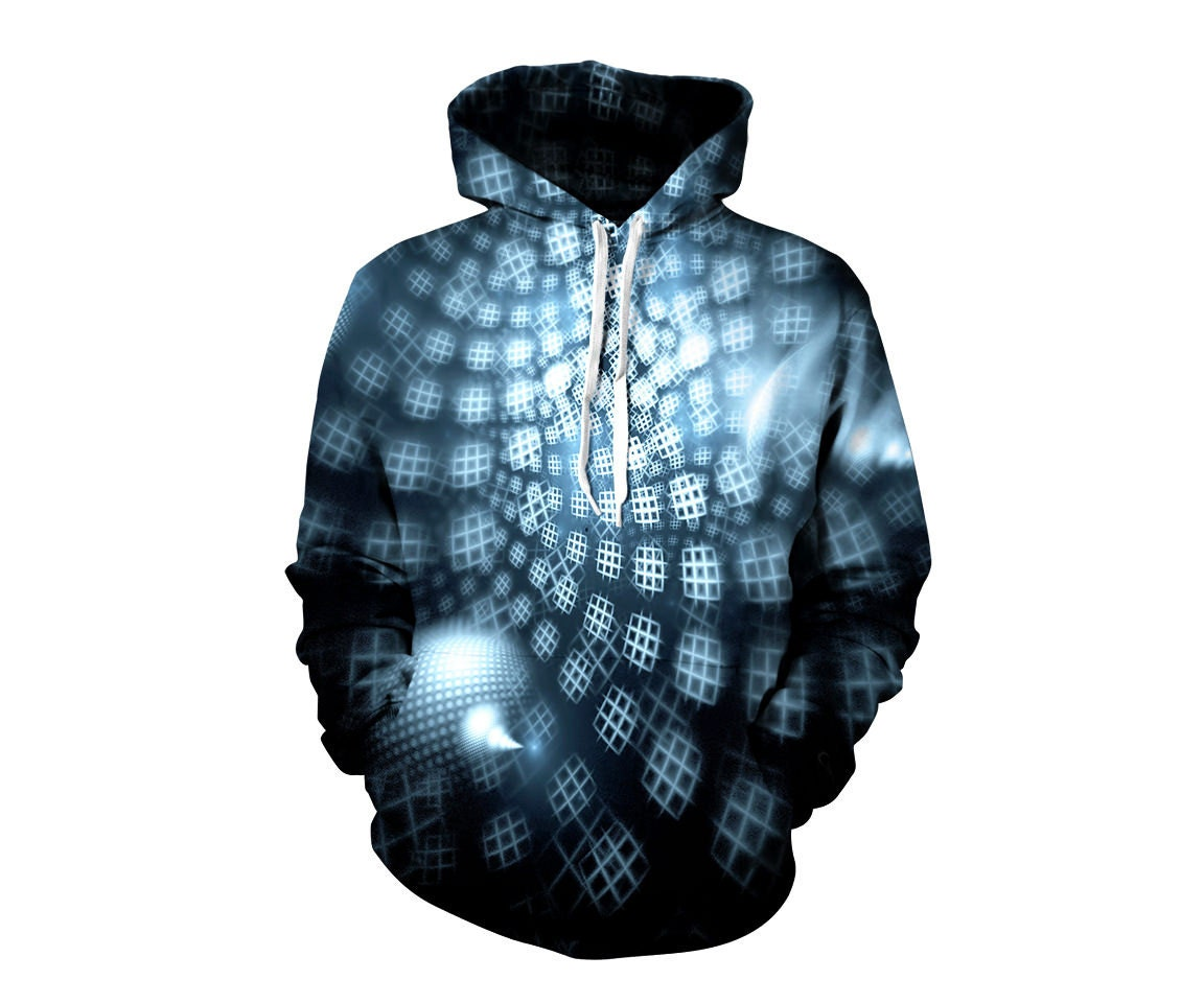 Mandala Nebula Art Hoodie - Outer Space EDM Hoody - Raver Clothes - Concert Clothing - Fractal Pattern JWtOMscWK