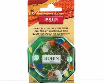 Flower Head Straight Pins, Fine Sharps Assorted Colors Size 32 - 2in (50 mm) long,  50ct #26661