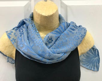 Devore Silk and Rayon Scarf, Hand Dyed, Blue over Gray