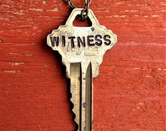 "Hand Stamped Vintage Key ""WITNESS"" Necklace (#339) - Jewelry Necklace Pendant Custom"