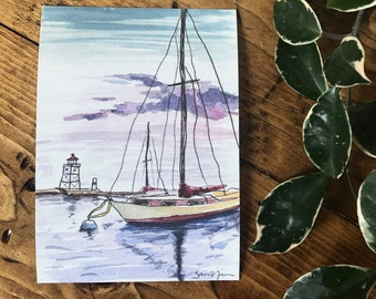 ORIGINAL WATERCOLOR PRINT - Grand Marais Sailboat Print -  Sailboat Print - Lake Superior - Lakehouse Decor - Sailboat Art - 5x7 inches