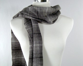 Long Scarf - Brushed Cotton Plaid Scarf - Gray Black Plaid Scarf - Winter Scarf - Autumn Scarf - Fall Scarf