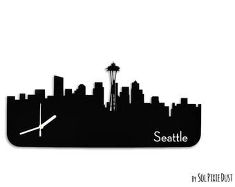 Seattle Skyline - Silhouette - Wall Clock