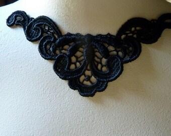 Black Applique Venice Lace  for Jewelry Supply, Costume Design BLA 405