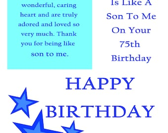 Like a Son 75 Birthday Card with removable laminate