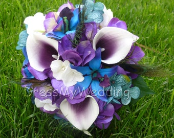 Purple hydrangea and picasso calla lily bouquet, small bridal bouquet, maid of honors or bridesmaids bouquet