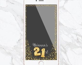 Birthday Snapchat Filter, Birthday Filter, Geofilter, Gold Balloons, Customized Birthday, Snapchat Geofilter, Sweet 16, Number Balloons
