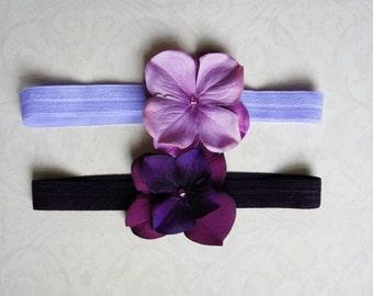Flower Gril Headband, Headbands, Flower Headband, Head Flowers, Baby Headbands in Eggplant Purple and Lavender