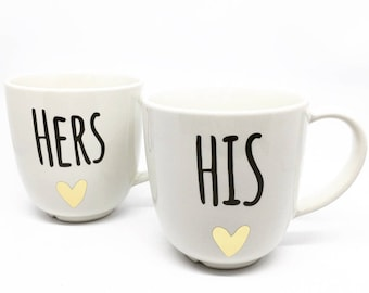 Set of 2 his and hers mug, couple tea set, tea lover, newlywed gift, gifts for couples, his and hers gift set, Couple's engagement mug set