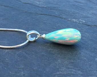 Green Fire Opal Pendant A-cut set on 925 Sterling Silver