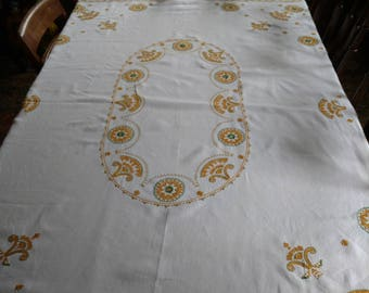 Embroidered table cloth, hand embroidered tablecloth, embroidered table cloth, cross stitched table cloth, vintage table cloth