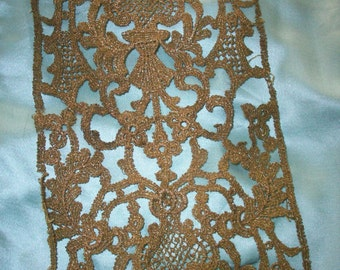 Metallic deep gold lace 1900s authentic