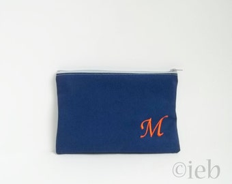 Monogrammed Makeup bag - Personalized Navy Clutch - Bridesmaid clutches - Medium