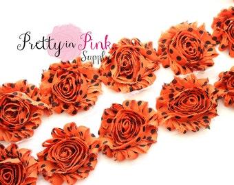 Orange with Black Dot Shabby Rose Trim- Shabby Flowers- 1/2 Yard or 1 Yard- Shabby Chiffon Trim- Wholesale Shabby Flowers-