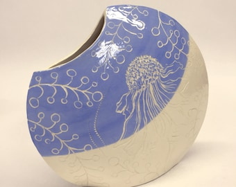 Ceramic Vase, Echinacea Flower , Earthenware, Sgraffito, Underglaze, Low-fire, Handpainted and Carved, Baby Blue, Gift, Christmas Gift