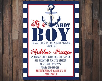 Nautical Baby Shower Invitation, Ahoy Its a Boy Baby Shower Invitation, Ahoy Its A Boy, Navy Blue, Anchor and Stripes 1094