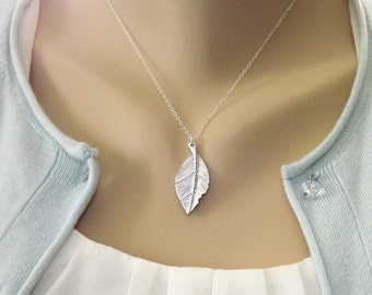 Silver Leaf Necklace Sterling Silver Chain