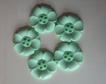 Lot of 5 Extra Large Flower Buttons - Pale green - mint - haberdashery, sewing, knitting, crochet, scrapbooking, kids crafts