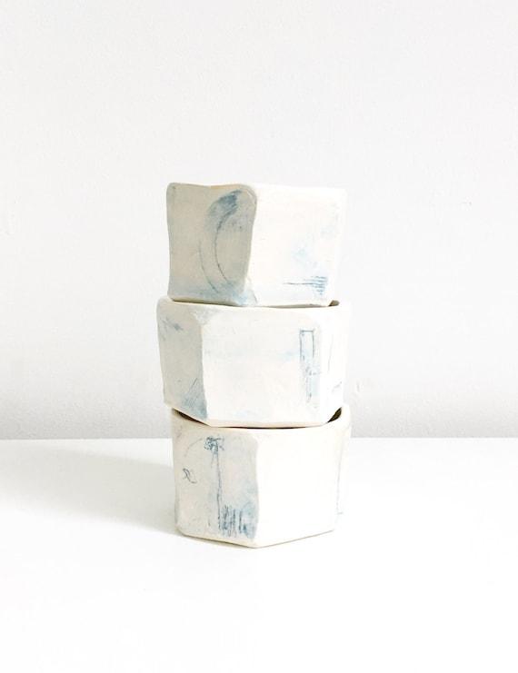 Light Blue Wash Hexagonal Cup