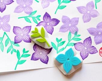 violet flower rubber stamps | petal & leaf | botanical hand carved stamp | birthday wedding card making | set of 2