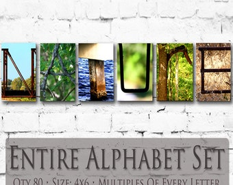 Letter Art / Name Art - 4x6 Photo Letters * Entire Alphabet Package * Multiples Of Each Letter * 80 Photos Included * Create Multiple Names