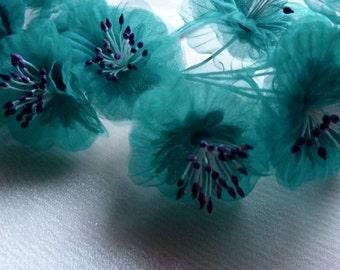 Aqua Flower YoYos Organza for Bridal, Headbands, Millinery, Fascinators, Floral Supply MF 87