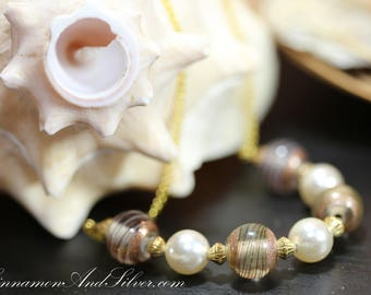 Classic Striped Brown Glass and Pearl Bead Necklace, Brown Glass Beaded Necklace, Brown Necklace, Pearl Necklace, Brown and Gold Necklace